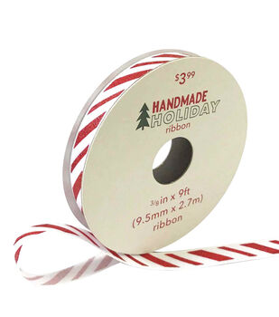 Handmade Holiday Christmas Ribbon 3/8''x9'-Red & White Candy Stripes
