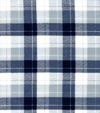 "Snuggle Flannel Fabric 42""-Skylar Navy & Gray Plaid"