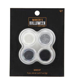 Maker's Halloween Costume Cosmetic Glitter Makeup Set-Black & Silver