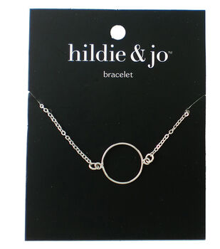 hildie & jo 8'' Metal Open Circle Bracelet-Silver