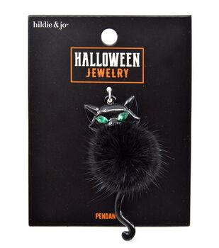 hildie & jo Halloween Jewelry Fur Cat Poof Pendant