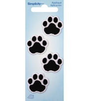 Simplicity 4 pk Black Cat Paw with White Embroidery Iron-on Appliques, , hi-res