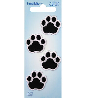 Simplicity 4 pk Black Cat Paw with White Embroidery Iron-on Appliques