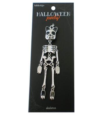 hildie & jo Halloween Cat Face Skeleton Doll Silver Pendant