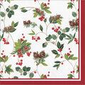Handmade Holiday Christmas 20 pk 6.5\u0027\u0027 Dinner Napkins-Pinecones & Holly