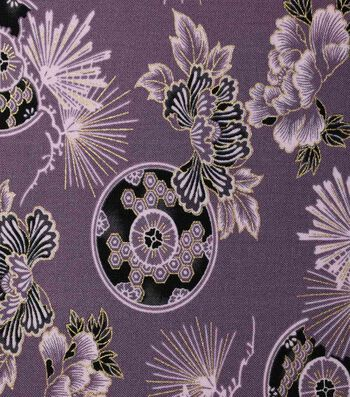 Premium Cotton Print Fabric 44''-Purple & Metallic Floral Fans