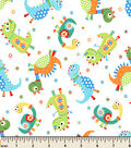 Snuggle Flannel Fabric 43\u0022-Dino Family Tossed Cream