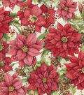 Susan Winget Print Fabric -Poinsettia In Snow