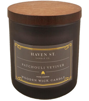 Haven St. Candle Co. 5 oz. Patchouli Vetiver Scented Wooden Wick Candle