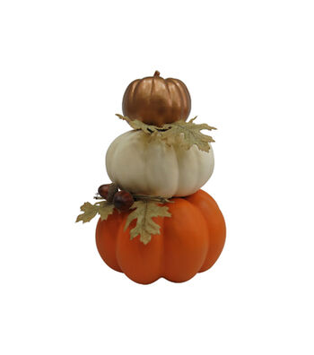 Simply Autumn 3-Stacked Pumpkins-Neutral