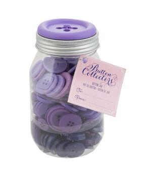 Button Collector Mason Jar-Purple Ombre