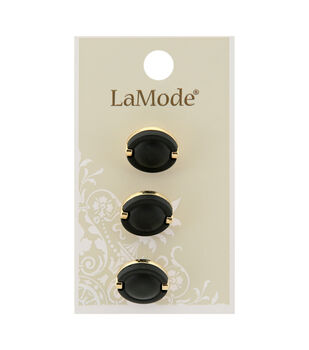 La Mode 3 pk 16 mm Shank Buttons-Black & Gold