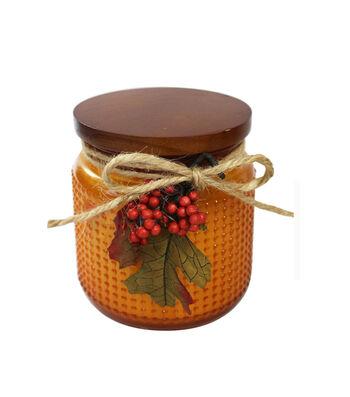Simply Autumn 4''x4.25'' Autumn Spice Scented Glass Jar Candle-Orange