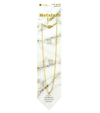 """Metaluxe Cable Necklace 16""""-Gold"""