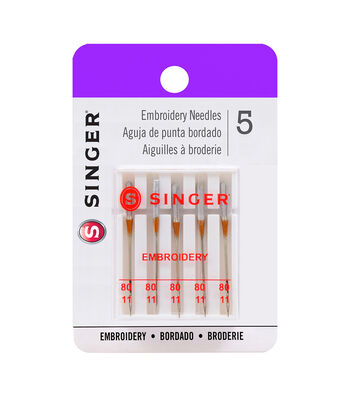 Singer 5 ct 80/11 Embroidery Sewing Machine Needles