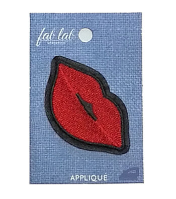 Fab Lab 2.87''x1.87'' Lips Iron-on Applique Patch