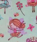 Soft & Comfy Fleece Fabric-Fairies on Aqua