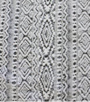 Ember Knit Prints Heavy Nylon Poly Fabric-Aztec Black White Brushed