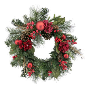 Handmade Holiday Christmas Grapevine, Red Ornament & Berry Wreath