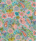 Double Faced Pre-Quilted Cotton Fabric -Teal Paisley