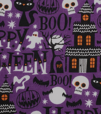 "Halloween Cotton Fabric 43""-Haunted House"