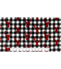 Sew Lush Fleece Fabric -Black & White Buffalo Check With Red Stag