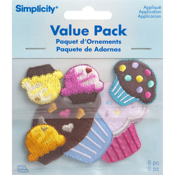 6 Party Cupcake Iron-On Fabric Appliques Small B