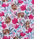 Anti-Pill Plush Fleece Fabric-Hanging Floral Sloth