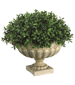 Boxwood Dome in Resin Urn 12''-Green