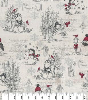 Christmas Cotton Fabric-Happy Snowman Cream Metallic