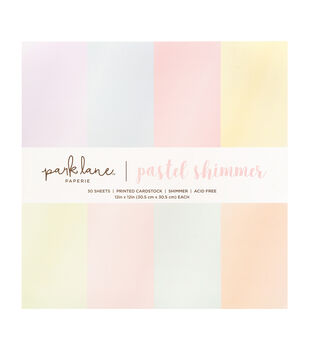 Park Lane Pack of 30 12''x12'' Cardstock Stack-Shimmer Pastels
