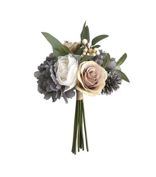 Blooming Autumn Rose, Peony & Berry Bouquet-Gray