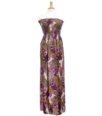 Style In An Instant  Shirred Dress Patchwork Purple