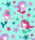 Snuggle Flannel Fabric 42\u0022-Flowing Mermaids