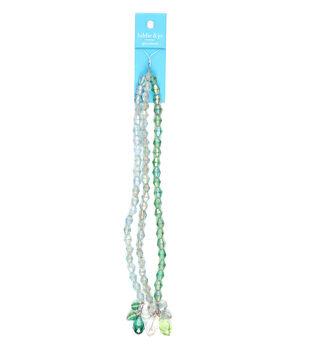 hildie & jo 7'' Glass Strung Beads-Green & Light Blue