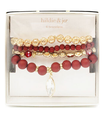 hildie & jo 4 pk Bracelets in a Box-Red
