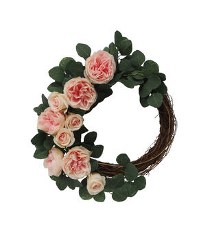 Fresh Picked Spring 24'' Rose & Leaves Wreath