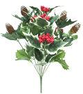 Blooming Holiday Christmas 21\u0027\u0027 Red Berry, Pinecone & Holly Bush