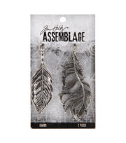 Tim Holtz Assemblage Charms-Leaf & Feather, , hi-res