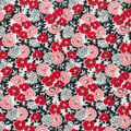 Wide Flannel Fabric -Red Floral On Black
