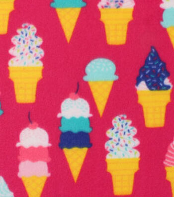 "Blizzard Fleece Fabric 59""-Ice Cream Cones"