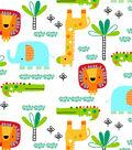 Snuggle Flannel Fabric -Bright Zoo Friends