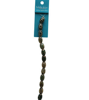 hildie & jo Dyed Agate Stone Oval Strung Beads-Green & Amber