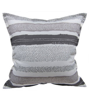 "Patio Oasis 17""x17"" Gray Texture Stipe Outdoor Pillow"