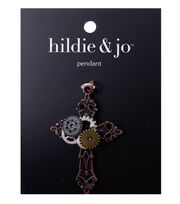 hildie & jo Cross 2''x1.5'' Multi Gear Pendant, , hi-res