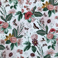 Crinkle Rayon Silky Fabric-Multi Butterfly Floral