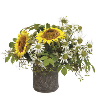 Sunflowers in Pot 16''-Yellow & Green