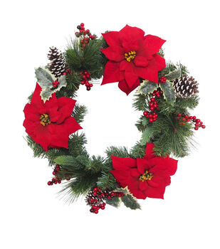 Handmade Holiday Christmas Holly, Pine, Red Poinsettia & Berry Wreath