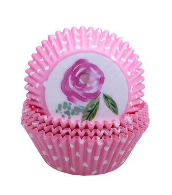 Easter 75 pk Cupcake Liners-Polka Dots & Rose
