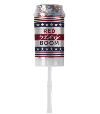 Americana Patriotic 10 pk Confetti Poppers-Red, White & Boom